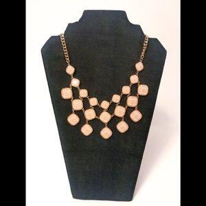 NWT Peachy Pink Beaded Bib Necklace